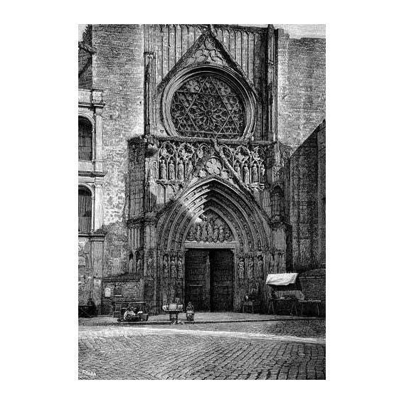 imagens de mapas, gravuras e aquarelas - Quadro -Catedral de Valencia, vista de la puerta de los Apóstoles-