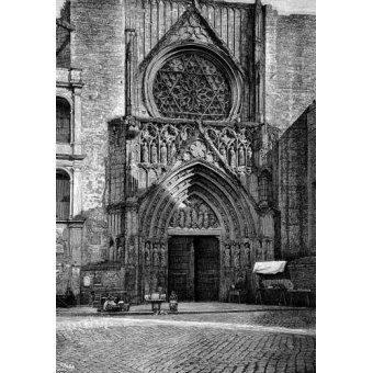 imagens de mapas, gravuras e aquarelas - Quadro -Catedral de Valencia, vista de la puerta de los Apóstoles- - _Anónimo Español