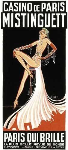 imagens-de-mapas-gravuras-e-aquarelas - Quadro -Cartel: Mistinguett en el Casino de Paris- - _Anónimo Frances