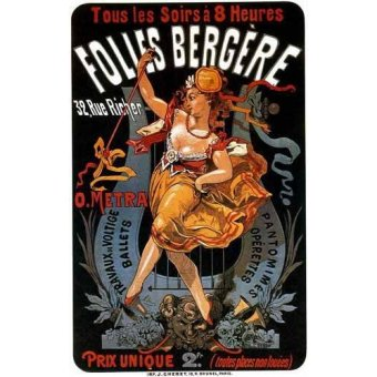 imagens de mapas, gravuras e aquarelas - Quadro -Cartel: Espectaculos en Folies Bergere, 32 rue Richer- - _Anónimo Frances