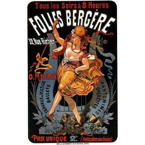 imagens de mapas, gravuras e aquarelas - Quadro -Cartel: Espectaculos en Folies Bergere, 32 rue Richer-
