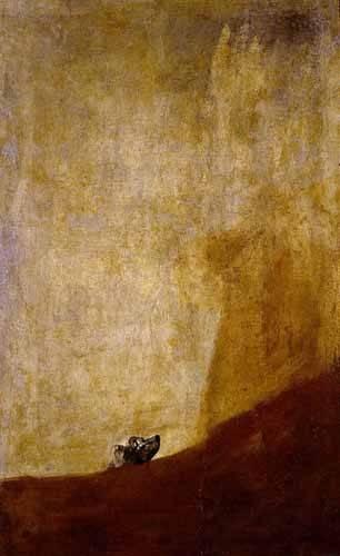 quadros-de-animais - Quadro -Perro semihundido- - Goya y Lucientes, Francisco de