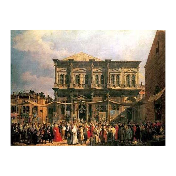pinturas de paisagens - Quadro -Visita del Dux a Iglesia San Rocco-