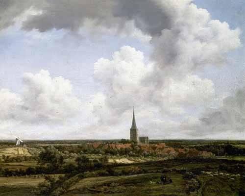 quadros-de-paisagens - Quadro -Paisaje llano con aldea e iglesia- - Ruisdael, Jacob van