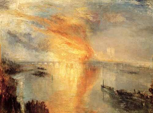 quadros-de-paisagens - Quadro -The burning of the house of L- - Turner, Joseph M. William