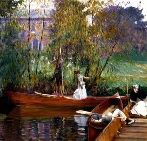 quadros-de-paisagens - Quadro -Fiesta en el rio- - Sargent, John Singer