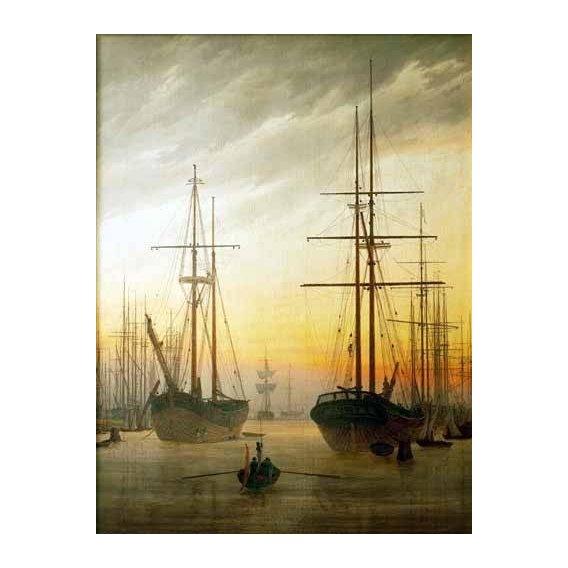 pinturas de paisagens - Quadro -Ships in The Harbour-