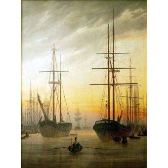quadros de paisagens marinhas - Quadro -Ships in The Harbour- - Friedrich, Caspar David