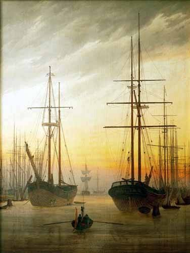 quadros-de-paisagens - Quadro -Ships in The Harbour- - Friedrich, Caspar David