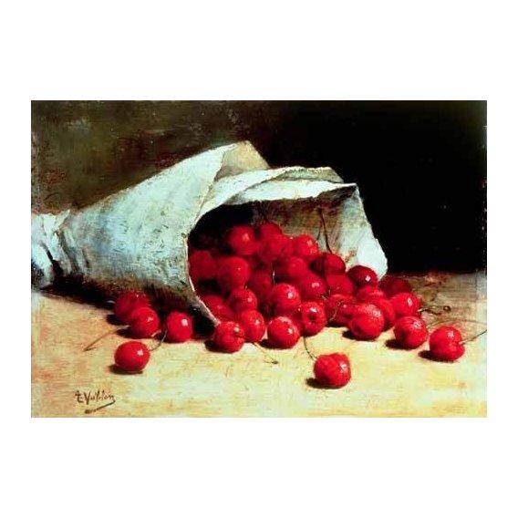 cuadros de bodegones - Cuadro -Bolsa de papel con cerezas-