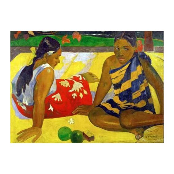 pinturas do retrato - Quadro -Two women from Tahiti (Oil on canvas) (1892)-
