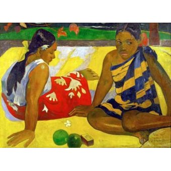 - Quadro -Two women from Tahiti (Oil on canvas) (1892)- - Gauguin, Paul
