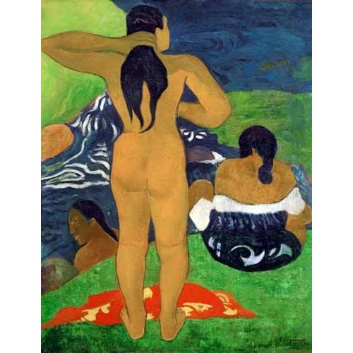 pinturas do retrato - Quadro -Tahitian women on the beach,1892-