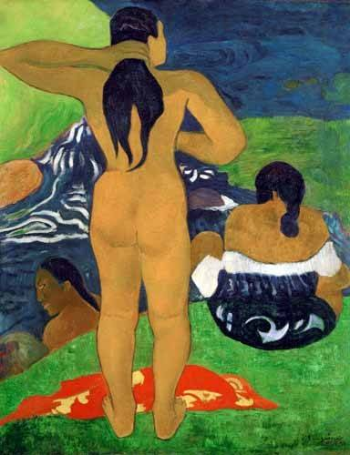 pinturas-de-retratos - Quadro -Tahitian women on the beach,1892- - Gauguin, Paul