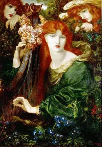 pinturas-de-retratos - Quadro -Ghirlandata- - Rossetti, Dante Gabriel