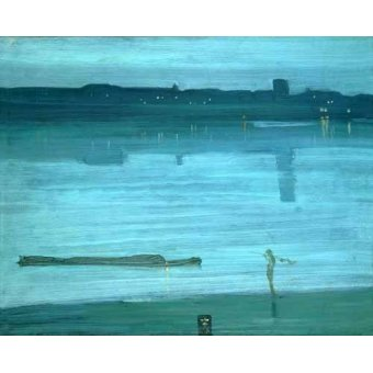 - Quadro -Nocturne, Blue and Silver_Chelsea, 1871- - Whistler, James Abbot McNeill
