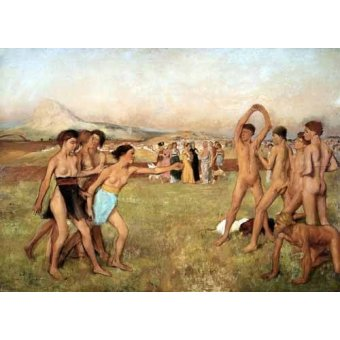 cuadros de desnudos - Cuadro -Young Spartans Exercising, 1860- - Degas, Edgar