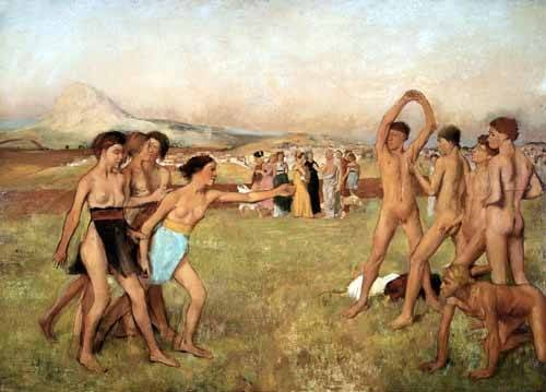 pinturas-de-retratos - Quadro -Young Spartans Exercising, 1860- - Degas, Edgar