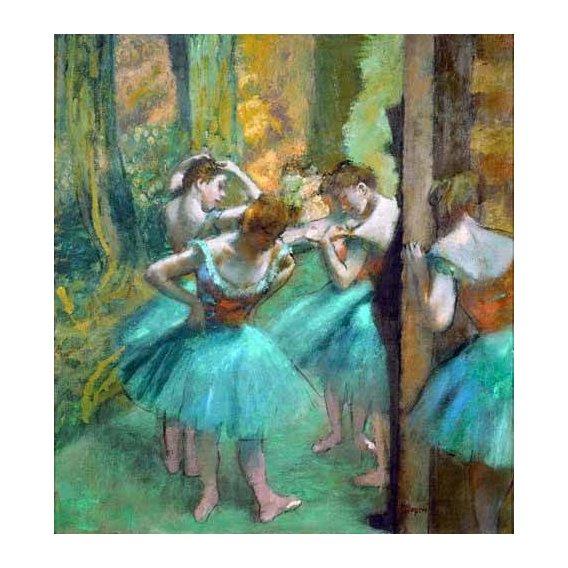 pinturas do retrato - Quadro -Pink and Green Dancers, 1890-