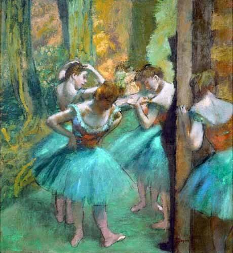 pinturas-de-retratos - Quadro -Pink and Green Dancers, 1890- - Degas, Edgar