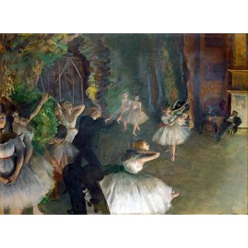 pinturas do retrato - Quadro -Repetition D un Ballet Sur La Scene, 1873-74-