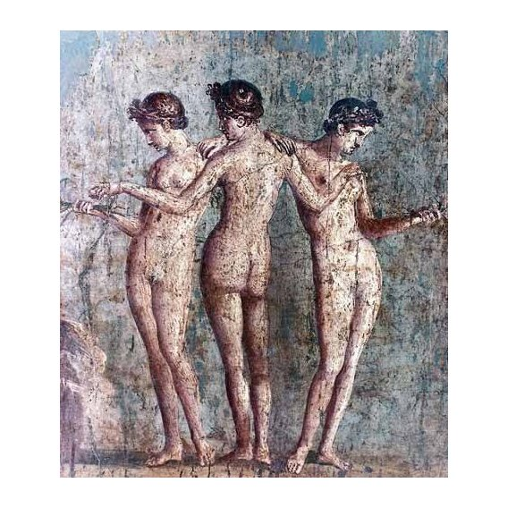 decorative paintings - Picture -Las tres Gracias- Frescos de Pompeya-