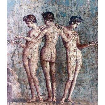 quadros nu artistico - Quadro -Las tres Gracias- Frescos de Pompeya- - _Anónimo Romano
