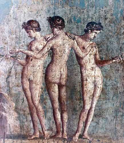 decorative paintings - Picture -Las tres Gracias- Frescos de Pompeya- - _Anónimo Romano