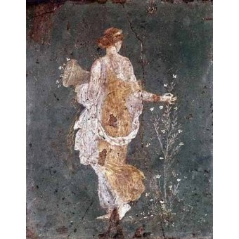 - Quadro -Muchacha recogiendo flores, (Pompeya)- - _Anónimo Romano