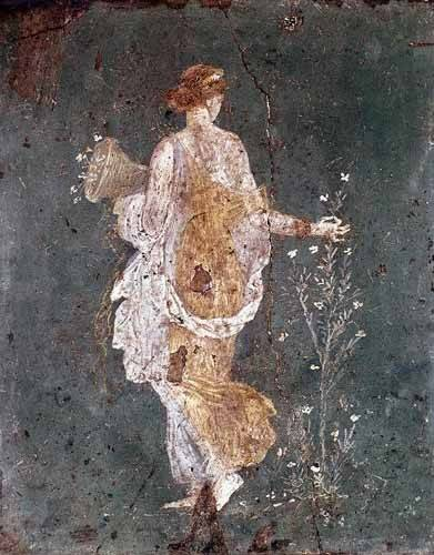 decorative paintings - Picture -Muchacha recogiendo flores, (Pompeya)- - _Anónimo Romano