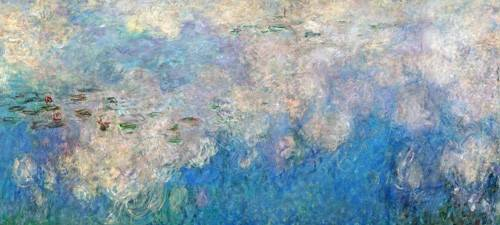 quadros-de-paisagens - Quadro -The Waterlilies - The Clouds (central section).- - Monet, Claude
