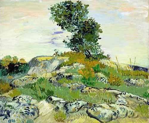 quadros-de-paisagens - Quadro -The Rocks, 1888 (oil on canvas).- - Van Gogh, Vincent