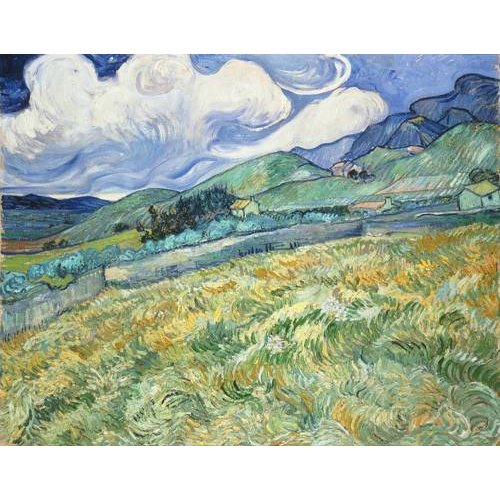 pinturas de paisagens - Quadro -The Green Wheatfield behind the Asylum, 1889-
