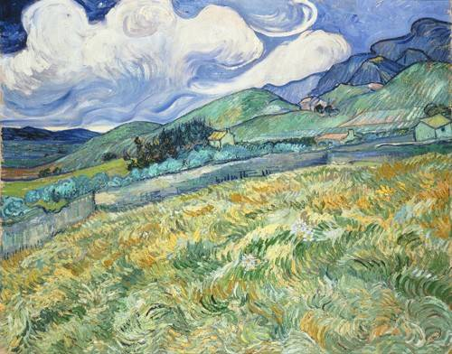 quadros-de-paisagens - Quadro -The Green Wheatfield behind the Asylum, 1889- - Van Gogh, Vincent