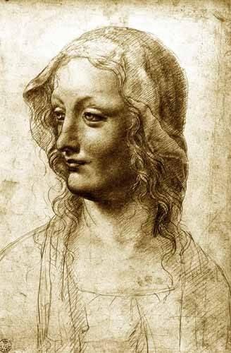 pinturas-de-retratos - Quadro -Cara de una mujer- - Vinci, Leonardo da