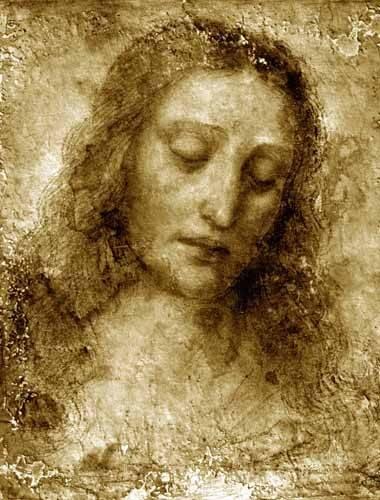 quadros-religiosos - Quadro -La Cara De Cristo- - Vinci, Leonardo da