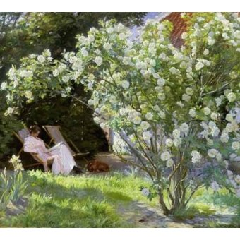 flowers - Picture -Line Roses (The artists wife at Skagen)- - Kroyer, Peder Severin