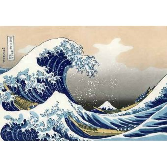 ethnic and oriental paintings - Picture -Tsunami- - Hokusai, Katsushika