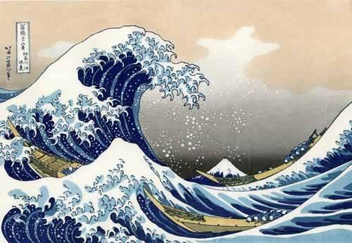 quadros-etnicos-e-orientais - Quadro -Tsunami- - Hokusai, Katsushika