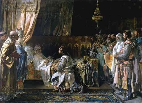 pinturas-de-retratos - Quadro -Los ultimos momentos del rey Don Jaime I El Conquistador- - Pinazo y Camarlench, Ignacio