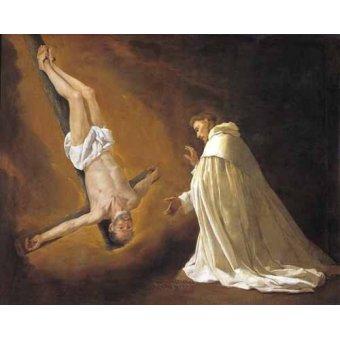 quadros religiosos - Quadro -Aparicion de San Pedro Apostol a San pedro Nolasco- - Zurbaran, Francisco de