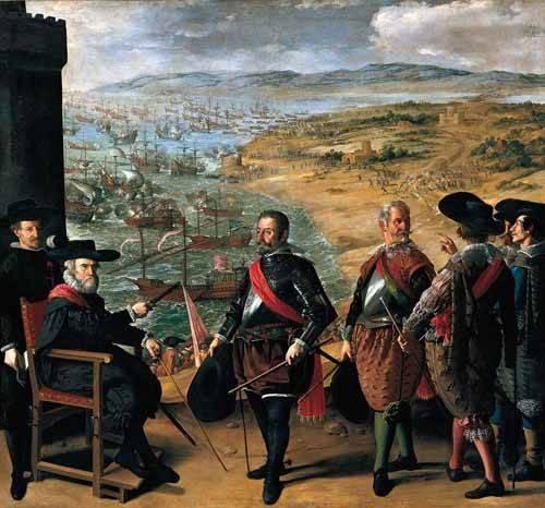 pinturas-de-retratos - Quadro -Defensa de Cadiz contra los ingleses- - Zurbaran, Francisco de