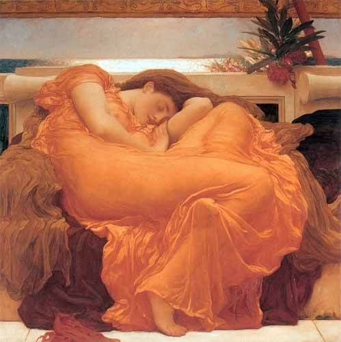 pinturas-de-retratos - Quadro -Flaming June- - Leighton, Frederick