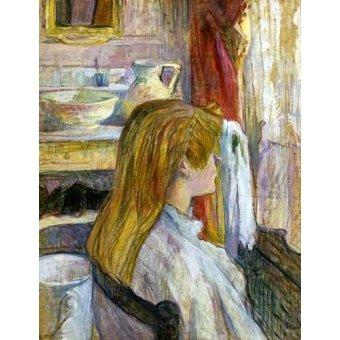pinturas de retratos - Quadro -Mujer en la ventana- - Toulouse-Lautrec, Henri de