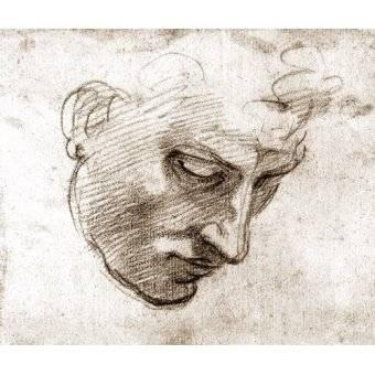 imagens de mapas, gravuras e aquarelas - Quadro -Studio di volto maschile- - Buonarroti, Miguel Angel