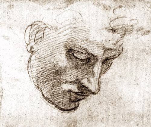 pinturas-de-retratos - Quadro -Studio di volto maschile- - Buonarroti, Miguel Angel