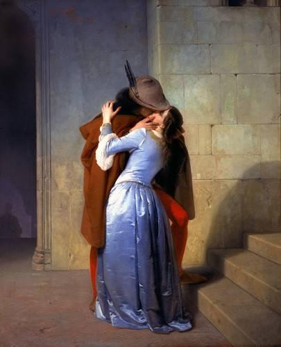 pinturas-de-retratos - Quadro -Il Bacio (Le baiser)- - Hayez, Francesco
