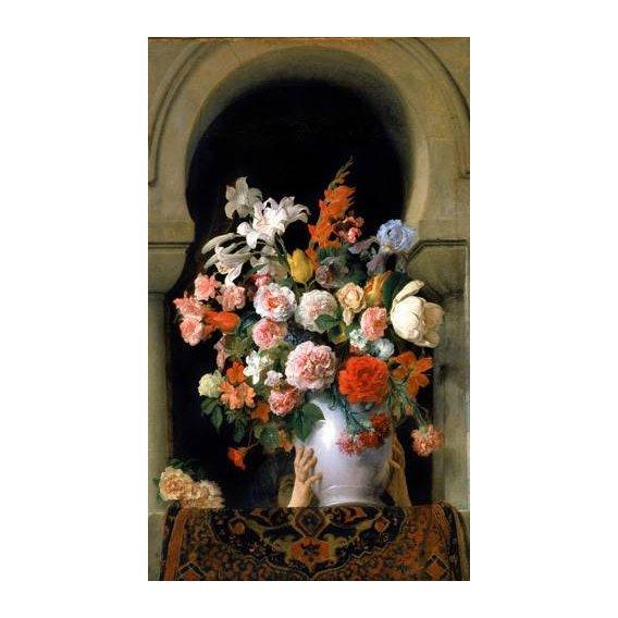 imagens de flores - Quadro -Vase of flowers on a harem s window-