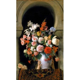 quadros de flores - Quadro -Vase of flowers on a harem s window- - Hayez, Francesco