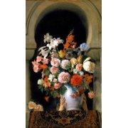 Quadro -Vase of flowers on a harem s window-